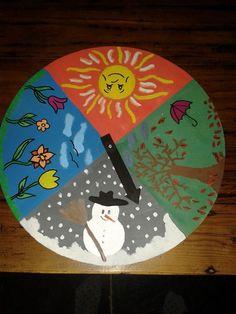 Zelfgemaakte klok voor seizoenen. Leuk voor bij de kleuters!