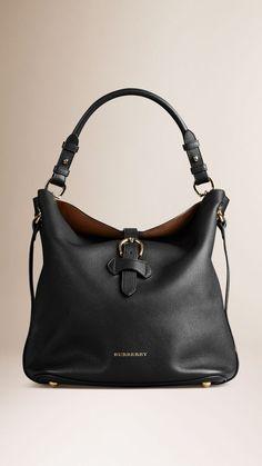 Medium Buckle Detail Leather Hobo Bag Leather Hobo Handbags 0e1465a51db4e