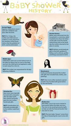 """Follow the history of baby showers from ancient Egypt to the Renaissance    all the way up to the modern era. What you learn may surprise you. For example, did you know that the term baby """"shower"""" comes from the idea of showering the mom-to-be with gifts?"""