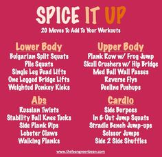 Spice It Up! 20 new moves to add to your workout routines! via Valk Chuah Lean Green Bean << awesome! Killer Workouts, Toning Workouts, Easy Workouts, Workout Routines, Summer Workouts, Circuit Workouts, Weight Workouts, Workout Plans, Workout Ideas