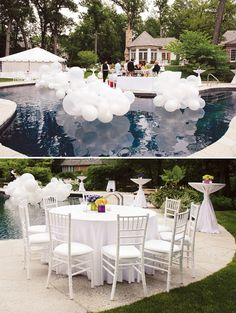 All white bridal shower theme Pool Wedding Decorations, White Party Decorations, Floating Pool Decorations, All White Party, Quinceanera Party, 30th Birthday Parties, Outdoor Parties, Cool House Designs, Party Planning