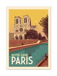 €25 . Affiche Illustration Originale NOTRE-DAME DE PARIS . Papier 350g/m² Couché Mat