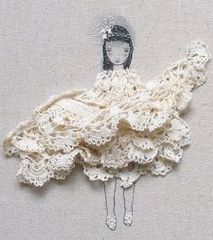 Cute and quirky art using crochet doilies and stitch work by catherine_campbell on Flickr. Sweet right?