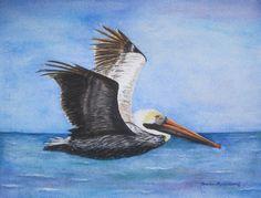 Pelican Beach Bird Painting Ocean Seashore by BarbaraRosenzweig