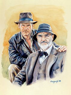"""Color pencil illustration of Indiana Jones and Dr. Henry Jones Sr. from """"Indiana Jones and the Last Crusade""""."""