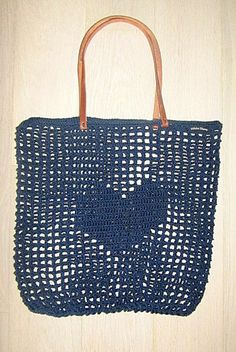 Crochet Shopping Bag in Navy Heart;