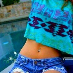 Love the top and belly button piercing
