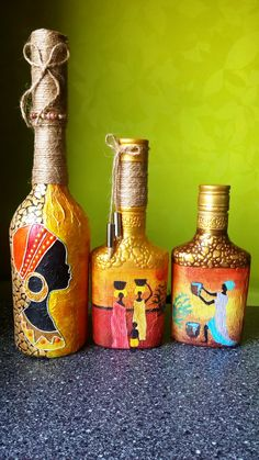 Plastic Bottle Art, Glass Bottle Crafts, Wine Bottle Art, Diy Bottle, Bottle Vase, Bottles And Jars, Bottle Painting, Diy Painting, Knife Painting