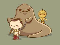 Kawaii Star Wars - Slave Leia and Jabba by by Jerrod Maruyama