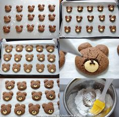 bear cookies ( no English instructions) Bear Cookies, Cute Cookies, Cupcake Cookies, Lion Cupcakes, Sable Cookies, Kawaii Cookies, Desserts Japonais, Cookie Recipes, Dessert Recipes