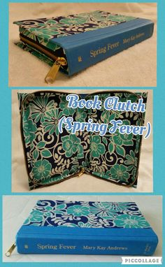 Book Clutch Handmade (Titled: Spring Fever) Blue Spine with Blue Floral Cover, Zips Closed.