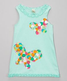 This Light Blue Butterfly Tank Dress - Infant, Toddler & Girls by little bits is perfect! #zulilyfinds