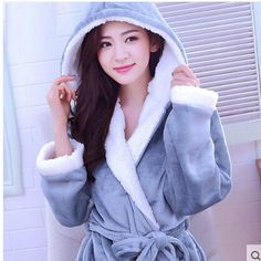 Warm Winter Hooded Bathrobe Cotton Flannel Pyjama Couples Bathrobes Kimono Dressing  Gown Sleepwear Robes For Women Men Home Wear 08fe4a246