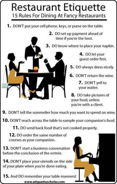 15 Etiquette Rules for Dining in a Nice Restaurants-- Tanks that Get Around is an online store offering a selection of funny travel clothes for world explorers. for funny travel tank tops and more travel etiquette Dinning Etiquette, Table Setting Etiquette, Table Settings, Etiquette Dinner, Setting Table, Bentgo Kids, Comment Dresser Une Table, Etiquette And Manners, Table Manners