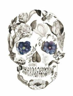 Floral Skull Tattoos, Skull Tattoo Flowers, Sugar Skull Tattoos, Skull Tattoo Design, Sugar Skull Art, Flower Skull, Skull Thigh Tattoos, Tattoo Designs, Butterfly Tattoos