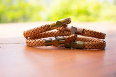 Leather bracelets with magnetic clasps