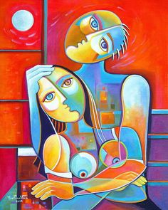 Cubist Abstract Original Large Acrylic Painting canvas 24x30 Couple in Love…