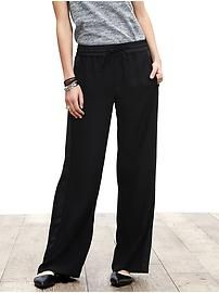 Piped Wide-Leg Soft Pant - The draw-string elastic waist pant is now the new look for work and dressy occasions. The pant can be worn higher on waist or at hips. Also looks great with tucked blouses.Also extremely comfortable.