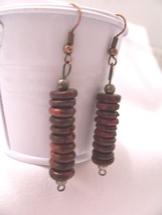 Rosewood stacked earrings  wooden earrings  by SparkleandComfort, $7.00