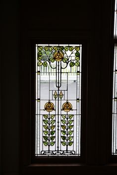 One panel of the large window overlooking the main staricase.