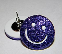 Glitter Smiley Face Stud Earrings. Style your little fashionista in ISM Chick's one of a kind pieces. Use the promo code: 4JULY to receive 15% off of purchase.  Offer ends July 4, 2014. Be sure to sign up to receive a bonus gift in your email.  #kid #women #fashion #style #fashionista #handcrafted #earrings #jewelry #glitter #smiley #face
