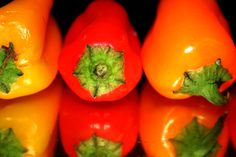 Yellow, red and orange peppers and reflections.