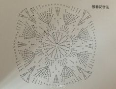crochet square diagram, Complete example @  http://www.duitang.com/people/mblog/63777689/detail/