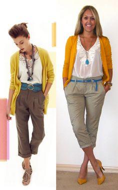 Bright blue belt and orange cardi #http://www.jseverydayfashion.com/