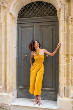 f5f2a64c20e4 2 in 1 Wide Leg Culotte Jumpsuit and Trousers Yellow