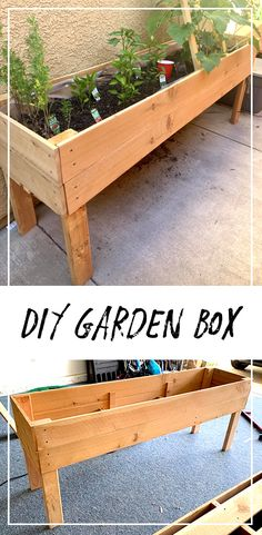 DIY garden box or planter box! Perfect for small spaces or just controlling your gardening environment. Grow your own vegetables or flowers! Elevated Planter Box, Raised Planter Boxes, Planter Box Plans, Cedar Planter Box, Garden Planter Boxes, Wooden Garden Planters, Diy Planters, Wooden Planter Boxes Diy, Vegetable Planter Boxes