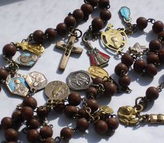 Rosary Antique Nun's Rosary Discalced Carmelite Many Medals. Beautiful!