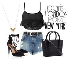 """""""Outfit #176"""" by catytomlinson95 ❤ liked on Polyvore featuring WALL, LE3NO, River Island, Lipsy and Louis Vuitton"""