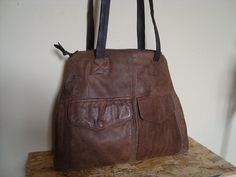 brown leather bag/// recycled leather bag by BagsBand on Etsy