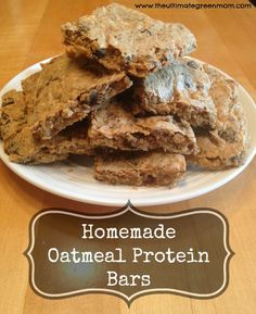 Homemade Oatmeal Protein Bars - The Ultimate Green Mom Baking With Protein Powder, Paleo Protein Powder, Protein Powder Recipes, Healthy Cheat Meals, Healthy Food Choices, Protein Foods, Protein Bars, Protein Power, Protein Muffins