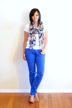 """"""" The formula: colored pants, a white tee, and a printed scarf that kinda goes with the pants. Do it with any colored pants and a coordinating scarf"""" Cobalt Jeans, Cobalt Blue Pants, Bright Blue Pants, Turquoise Pants, Blue Jeans, Blue Pants Outfit, Blue Jean Outfits, Casual Outfits, Cute Outfits"""