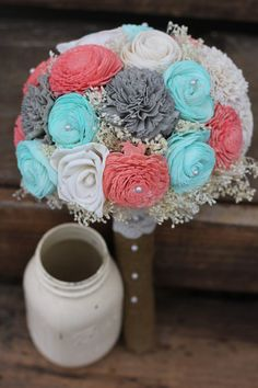 Best Wedding Bouquets Coral And Mint Flower 17 Ideas Coral Wedding Flowers, Rustic Wedding Flowers, Flower Bouquet Wedding, Coral Roses, Rustic Turquoise Wedding, Mint Rustic Wedding, Teal Bouquet, Teal Coral, Silk Flower Bouquets
