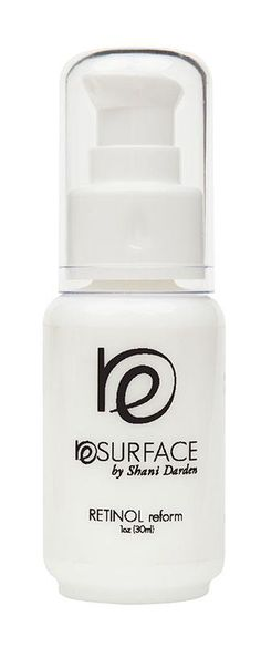 Resurface by Shani Darden - Retinol Reform 1oz ($95): Helps reduce wrinkles, pore size and photodamage (dark spots) - Improves skin texture for acne scarred skin - Softens and smoothes rough aging skin - Lightens pigmentation associated with photodamage - Over time, will aid in toning and firming the skin.