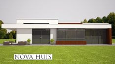 moderne bungalow energieneutraal grote ramen veel licht NOVA-HUIS.nl A50 Bungalows, Patio, House Plans, Garage Doors, Outdoor Decor, Nova, Model, Home Decor, Haus