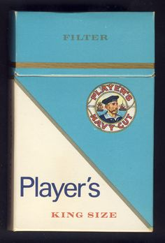 """CANADA 1960's (?) TOBACCO """"Player's"""" 20 King Size Filter Cigarette Hard Pack Box 