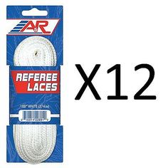 Other Hockey Skates 165935: Aandr Oficial Referee Ice Hockey Skate Laces White 96-120 Waxless 96 (12-Pack) BUY IT NOW ONLY: $34.54