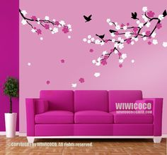 pink cherry blossoming vinyl wall decals | Flickr - Photo Sharing!
