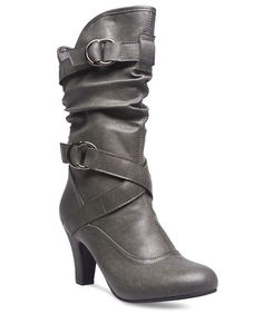 "<p>These city chic boots will take you to fabulous heights! The boots are made with faux leather and have a relaxed and slouchy fit, a wrap at the ankle and top of the shaft, both with adjustable double-loop metal buckles, and stylized seams. The inner shaft has an exposed zipper that reaches 3/4 up the side for easy wear.</p>    <ul>  	<li>Shaft: 9"" Height / Heel: 3.25""</li>  	<li>Man Made Materials / Metal</li>  	<li>Imported</li>  </ul>"