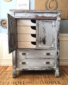 Old barn Milk painted Empire Wardrobe Chest done by Rehab to Fab. Upscale Furniture, Furniture Styles, Furniture Projects, Furniture Makeover, Cool Furniture, Refurbished Furniture, Diy Projects, Shabby Chic, Ranch Decor