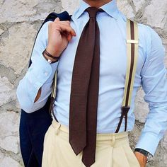 """Wearing a Viola Milano """"Brown"""" solid Grenadine tie & """"Sand/Brown"""" Stripe suspenders Modern Gentleman, Gentleman Style, Suspenders Outfit, Suspenders Fashion, Gents Wear, Mens Braces, Classic Suit, Classic Style, Classic Fashion"""