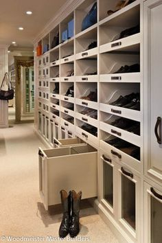 I want this closet! Woodmeister Master Builders: Enviable, custom closet with glass fronted boot drawers. Shoe Rack Closet, Wardrobe Closet, Master Closet, Closet Bedroom, Closet Storage, Closet Organization, Boot Storage, Shoe Racks, Shoe Cubby