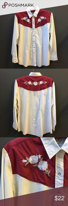 """SALE Vintage Snap Up Cotton polyester blend western snap up shirt. Custom embroidered on the front and back. Snaps at the wrists, too. Measurements flat are:  shoulders:  17"""" sleeves: 22"""" length 28"""" chest 22"""". Good for a 6-8, maybe a 10 depending on your body type. Check measurements. Vintage Tops Button Down Shirts"""