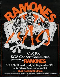 """gimme-gimme-shock-treatment: """" Ramones, poster for a show in Long Island, NYC 1979 Gig Poster, Punk Poster, Tour Posters, Band Posters, Vintage Concert Posters, Vintage Posters, T Shirt Designs, Music Flyer, Poster Design"""