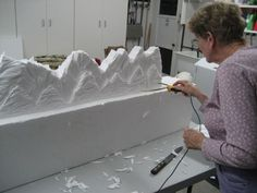 Easy EPS foam mountains carved with the Hot Wire Foam Factory Sculpting Tool. Backdrop for a Department 56 Christmas village display. Department 56 Christmas Village, Christmas Village Display, Christmas Town, Christmas Villages, Christmas Holidays, Christmas Crafts, Silver Christmas, Victorian Christmas, Rustic Christmas