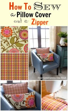 How to sew a pillow cover + zipper. Quick and Easy tutorial. @Four Generations One Roof