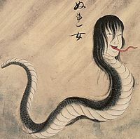 """In Japanese folklore, a nure-onna (濡女?, lit. """"wet woman"""") is a yōkai which resembles an amphibious creature with the head of a woman and the body of a snake. While the description of her appearance varies slightly from story to story, she has been described as being 300 m in length and has snake-like eyes, long claws, fangs and long, beautiful hair. She is typically spotted on a shore, washing her hair."""